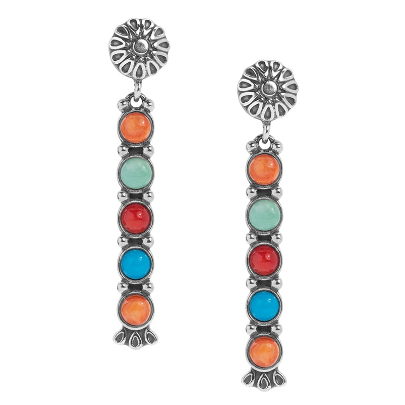 Santa Fe Sunrise Sterling Silver Multicolor Gemstone Dangle Earrings
