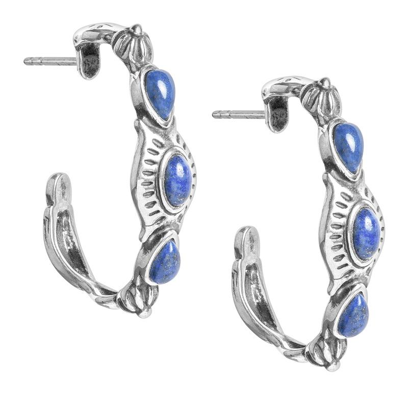 Sterling Silver Blue Denim Lapis Gemstone 3-Stone Hoop Earrings