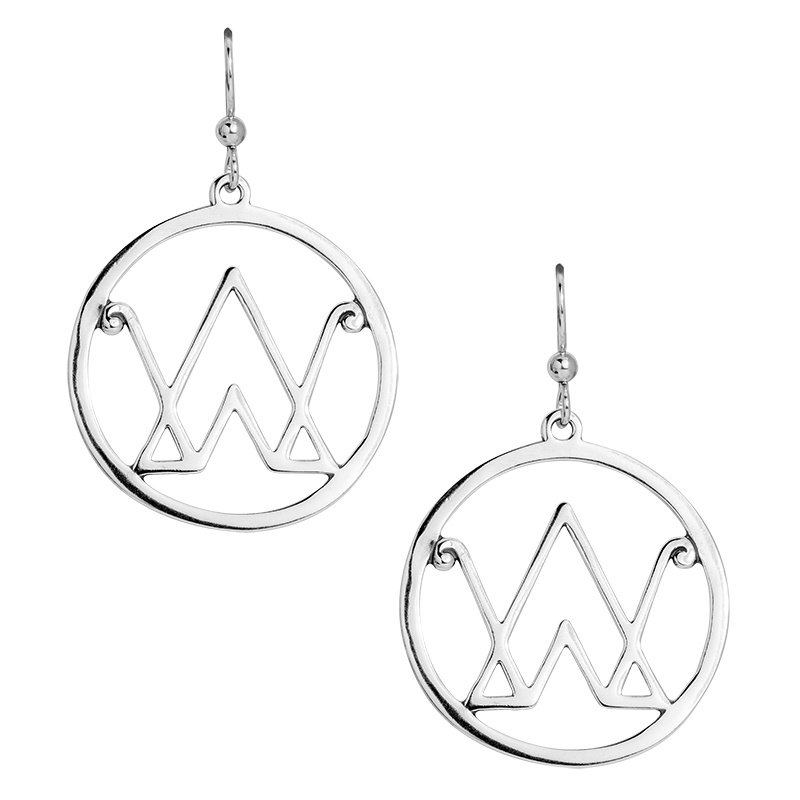 The Brand Collection Sterling Silver Logo Dangle Earrings