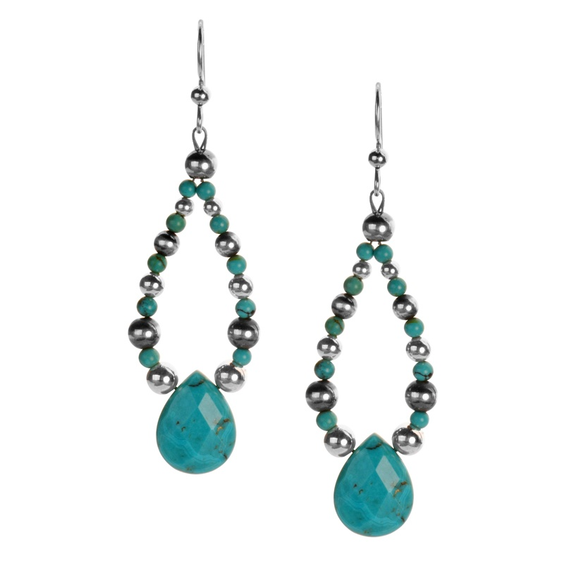 Sterling Silver Blue/Green Sleeping Beauty Turquoise Gemstone Beads and Faceted Turquoise Teardrop Dangle Loop Earrings