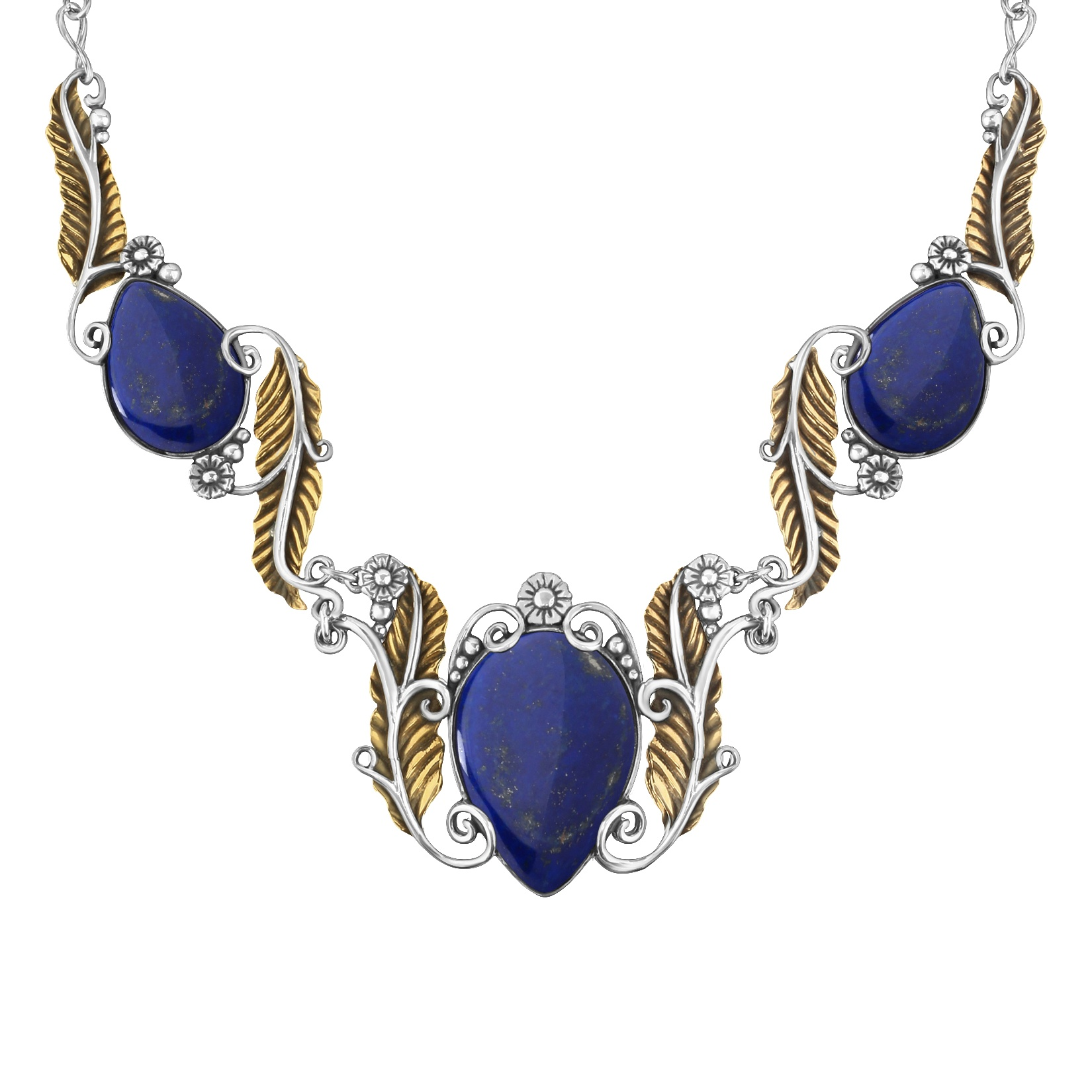Sterling Silver Brass Blue Lapis Gemstone Statement Necklace