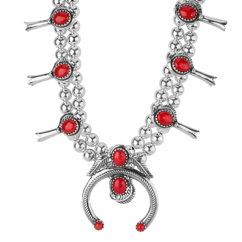 Sterling Silver Red Coral Squash Blossom Statement Necklace 21 to 24 Inch
