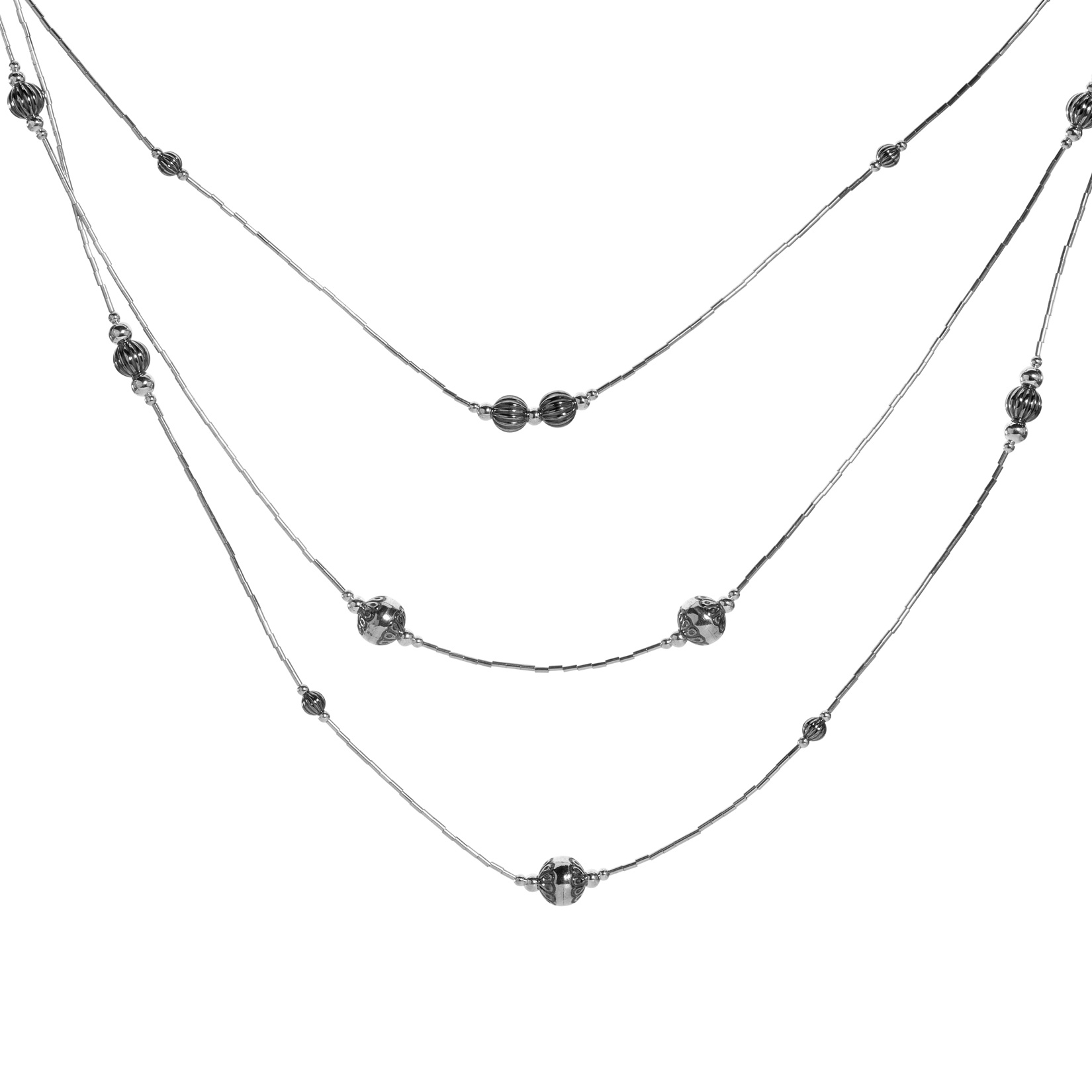 Sterling Silver Bugle Beads with Native Pearl Bead Stations 3-Tier Necklace 28 Inch