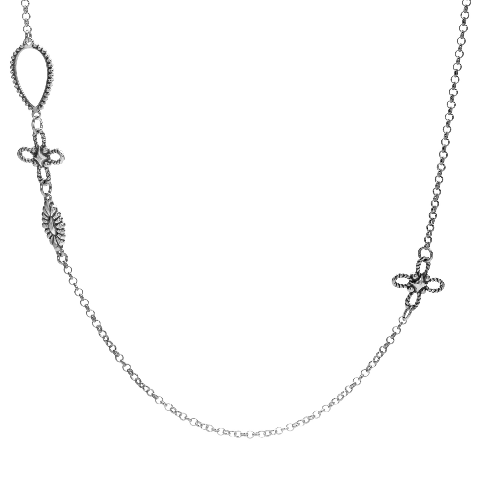 Sterling Silver Station Necklace 32 Inch