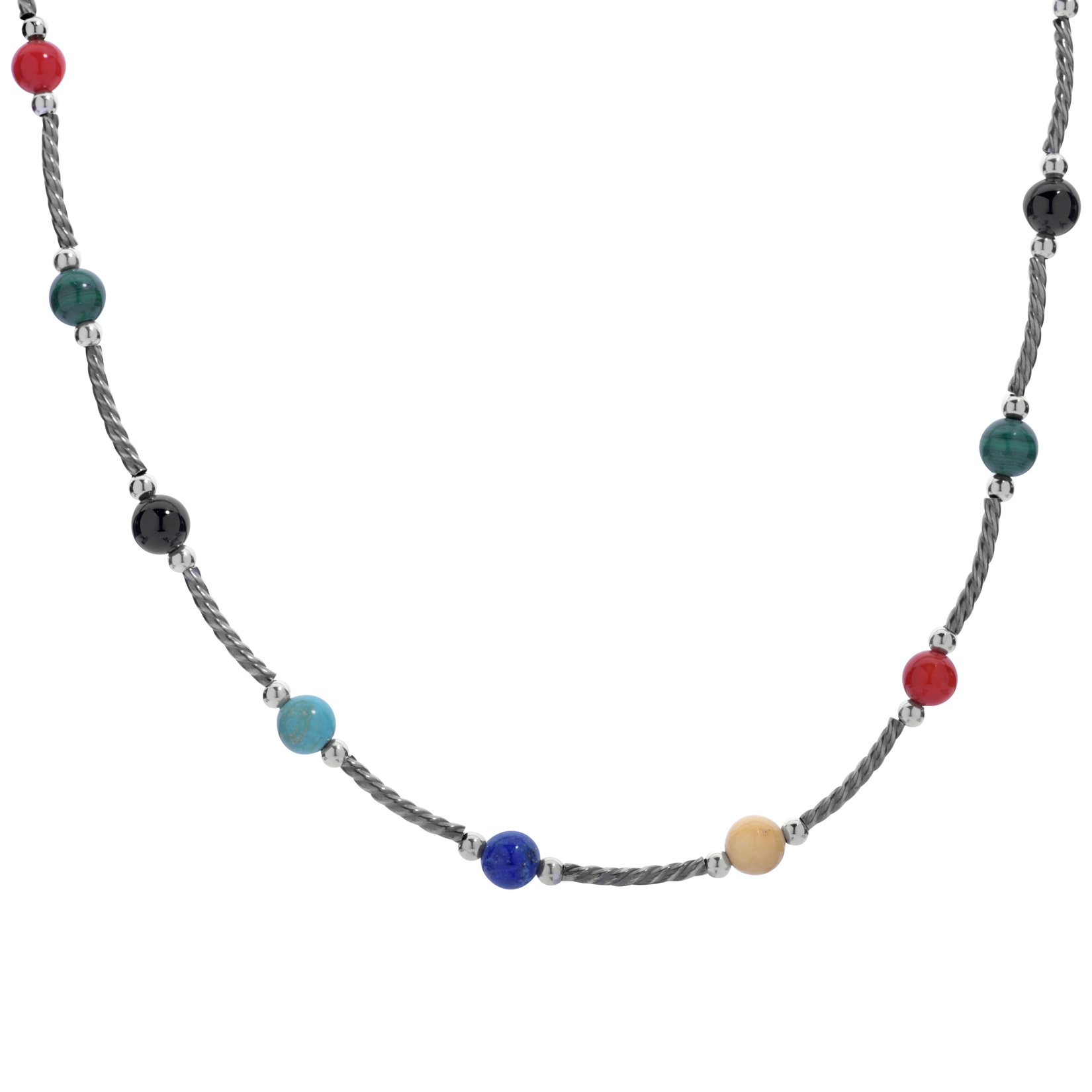 Sterling Silver Bright Gemstone Twist Beaded 17 Inch Necklace