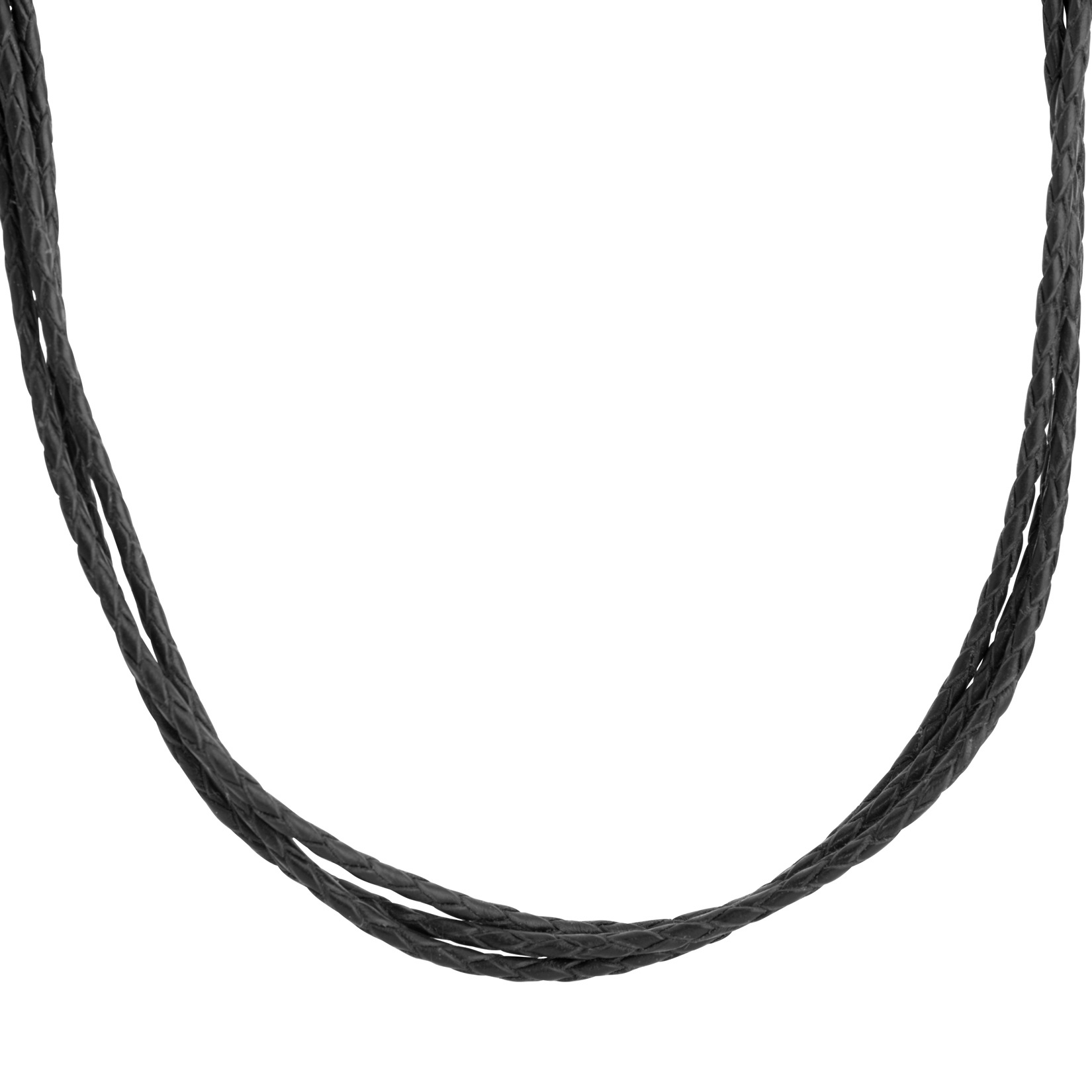American West 17-inch Three Strand Black Leather Necklace