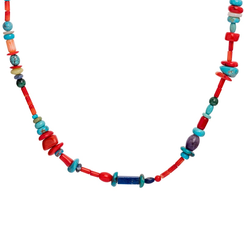 Sterling Silver Multi Gemstone Beaded Necklace 24 Inch to 27