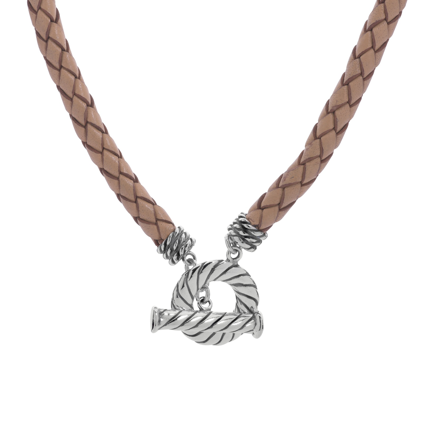 American West Sterling Silver 20 Inch Beige Leather Toggle Necklace