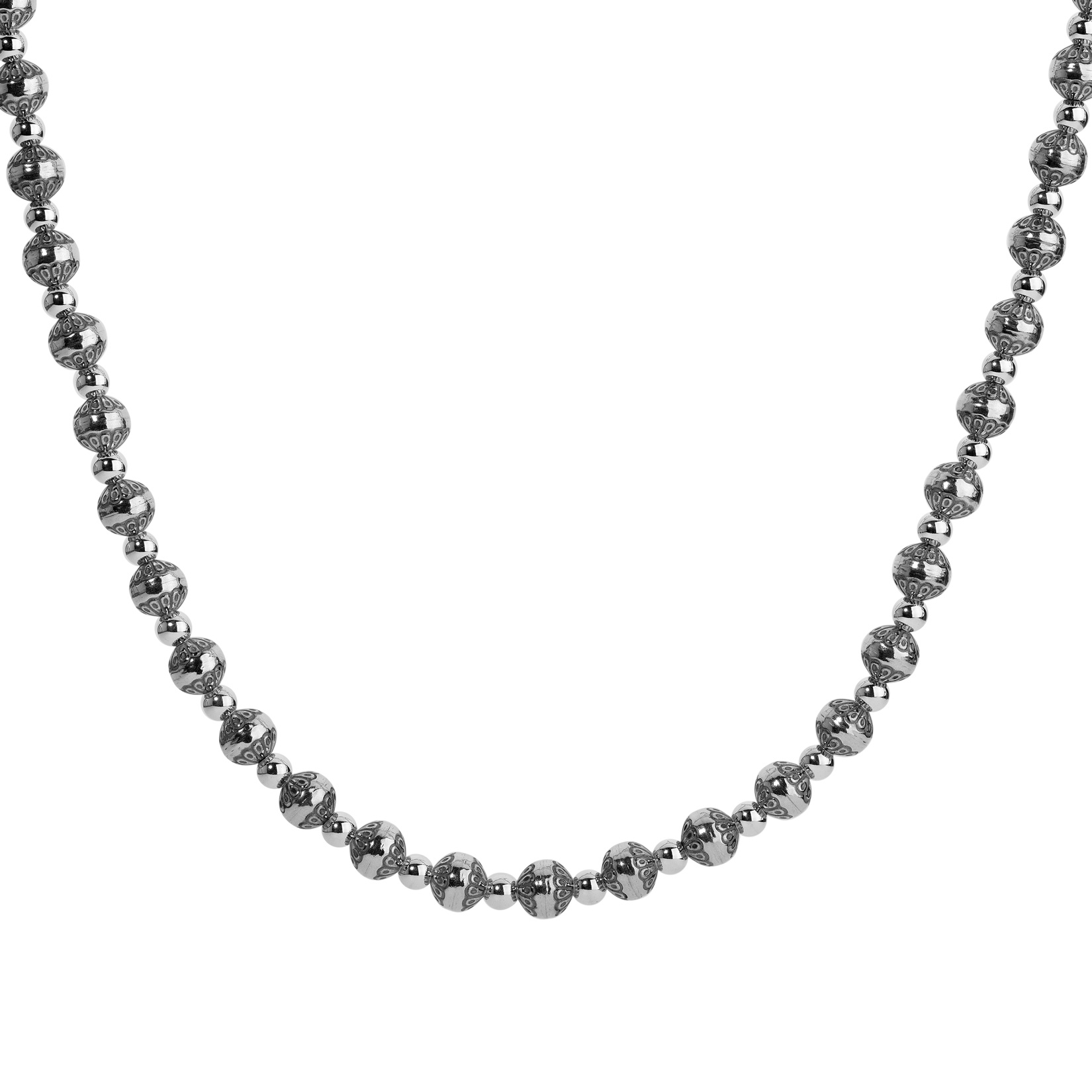 Sterling Silver Native Pearl Stamped Bead Necklace 32 to 35 Inch