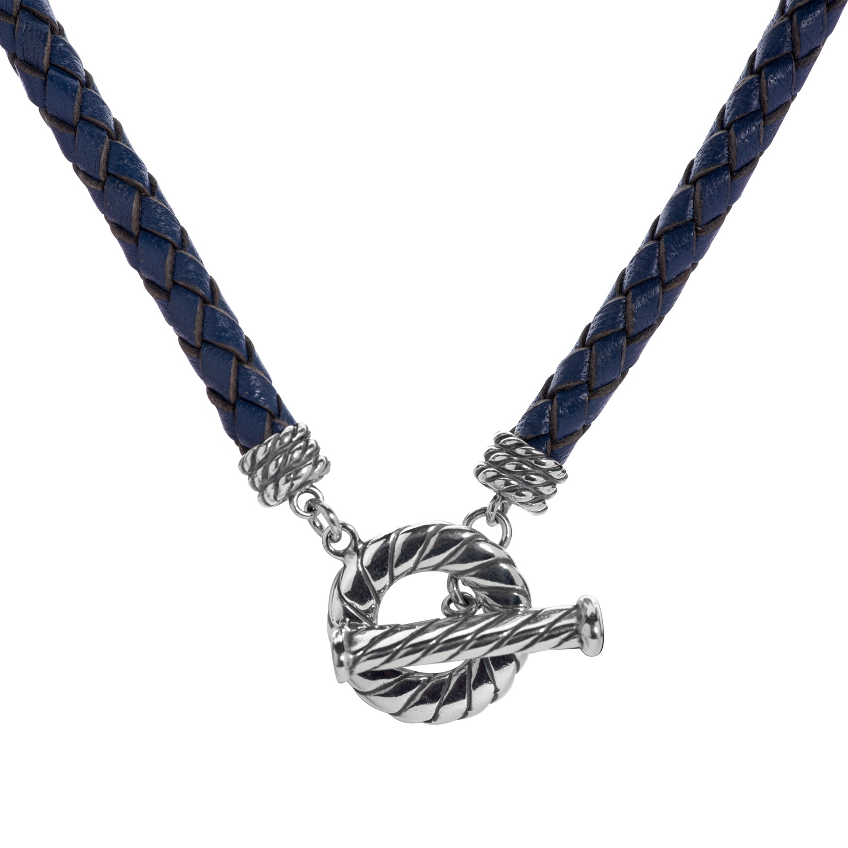 17 Inch Blue Leather Toggle Necklace