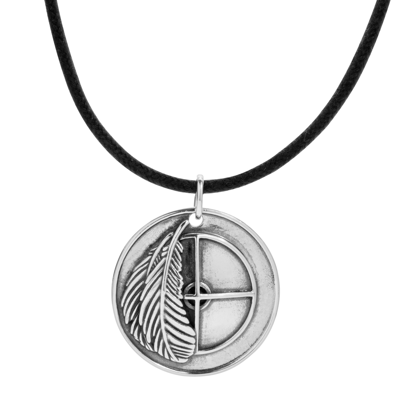 Sterling Silver Medicine Wheel Medallion Necklace 32 Inch
