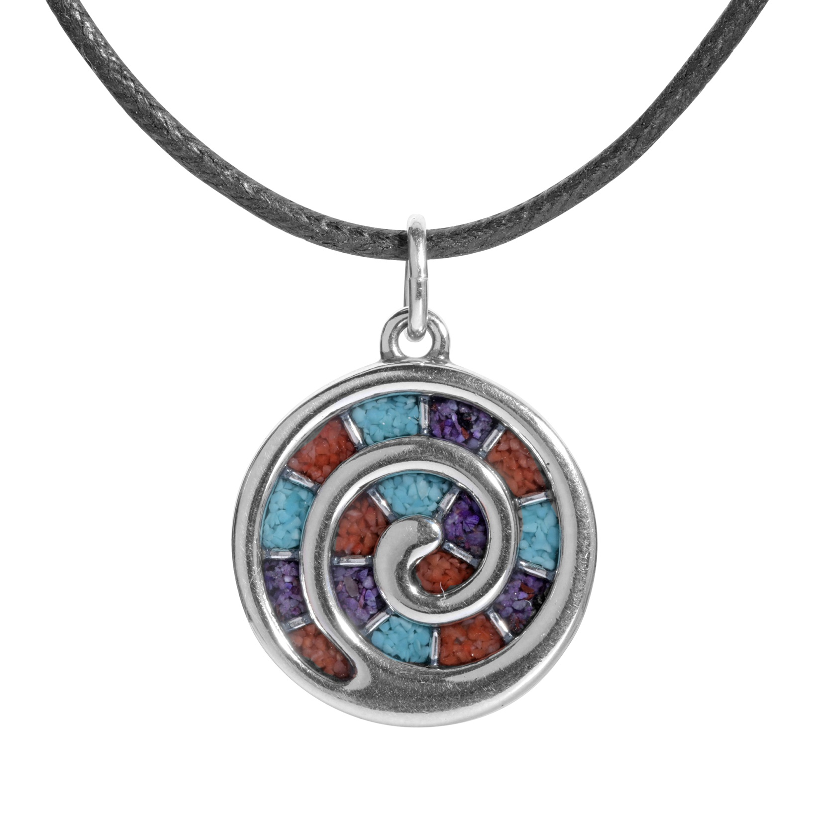 Sterling_Silver_Black_Leather_Spiral_Inlay_Necklace