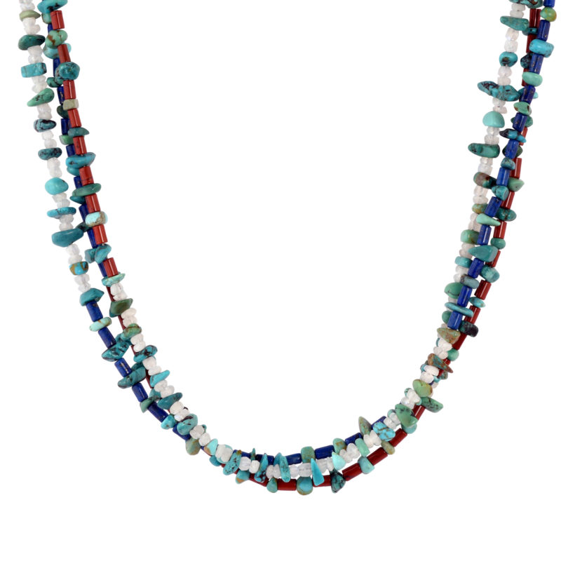 Sterling Silver Blue/Green Turquoise, Red Jasper, Blue Lapis and Moonstone Gemstone Beaded 3-Strand Necklace 17 to 20 Inch