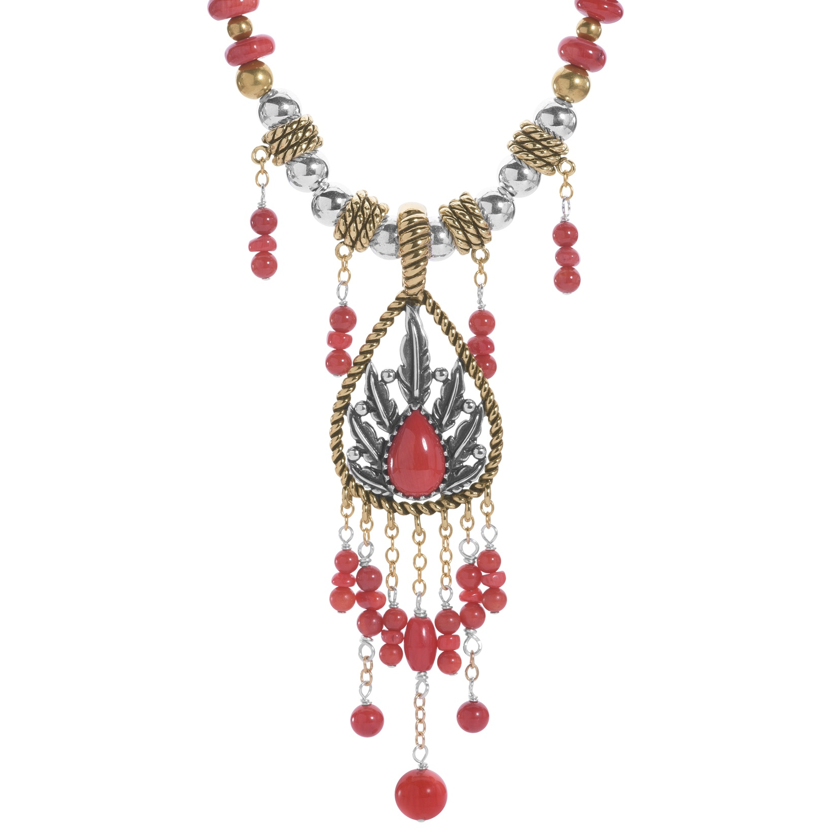 Classics Mixed Metal and Red Coral Enhancer on Beaded Necklace