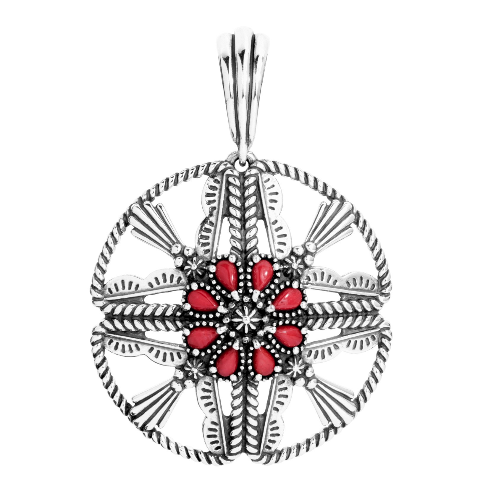 Classics Sterling Red Coral Cross Pendant Enhancer
