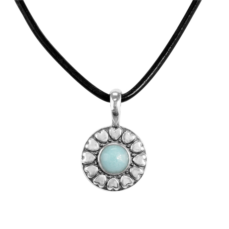 Sterling Silver Blue Amazonite Gemstone Reversible Pendant and Black Genuine Leather Cord Necklace 17 to 18 Inch