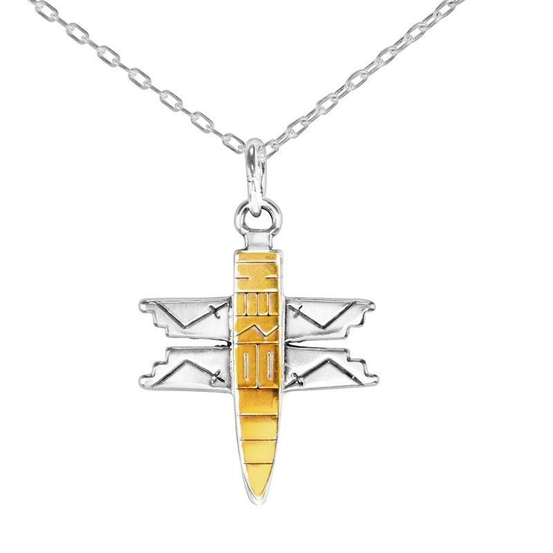 Sterling Silver and 14k Gold Dragonfly Roderick Tenorio Designed Charm Pendant Necklace 18 Inch