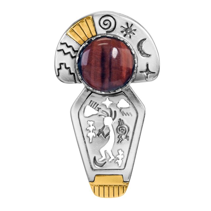 Sterling Silver and 14k Gold Roderick Tenorio Designed Red Tiger's Eye Gemstone Headdress Pendant