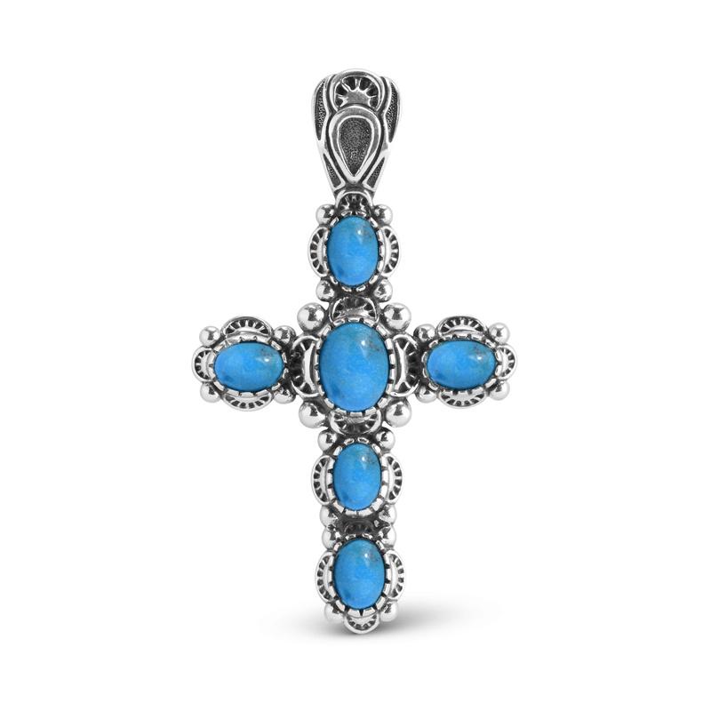 Sterling Silver Blue Turquoise Gemstone Cross Pendant Enhancer
