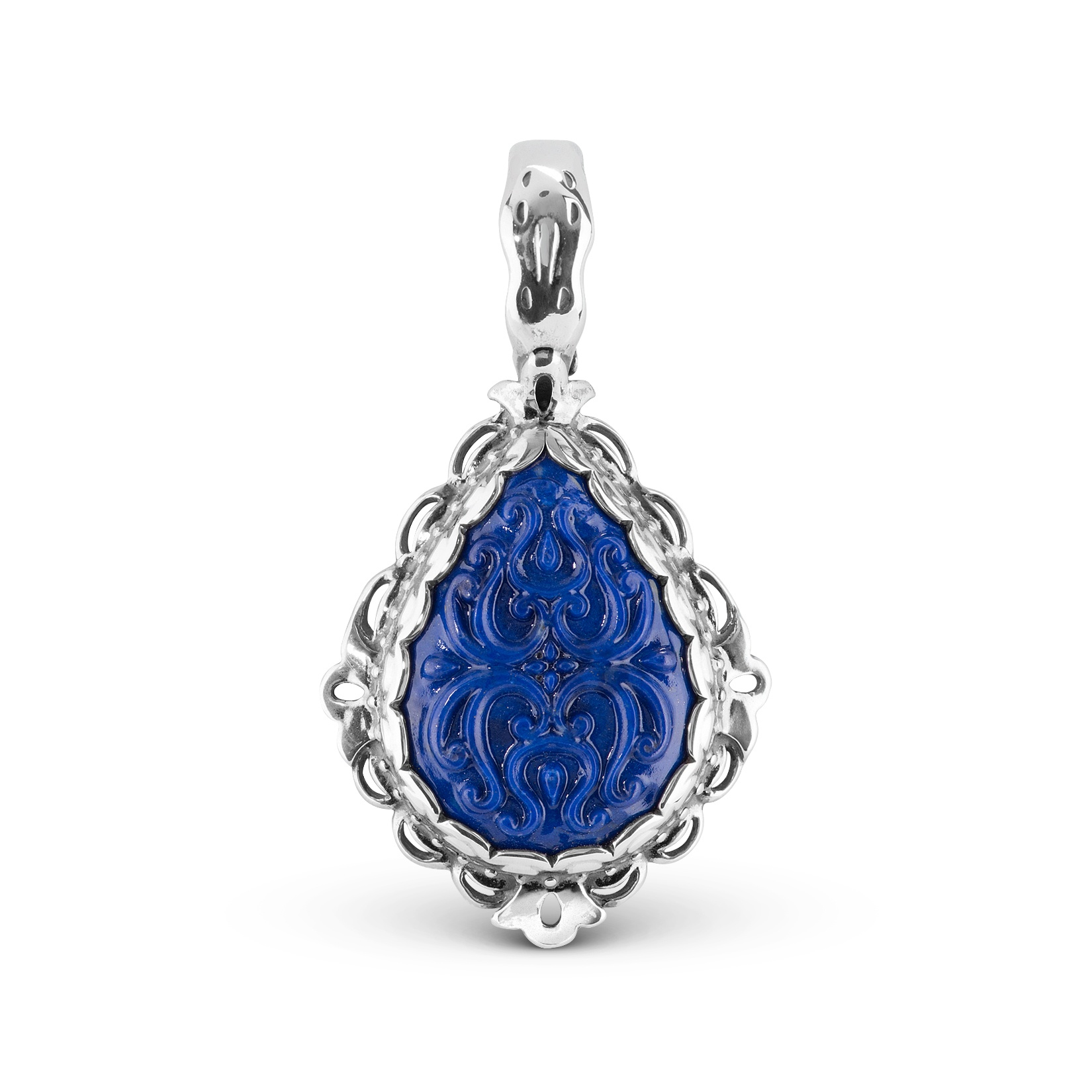 Sterling Silver Carved Lapis Teardrop Pendant