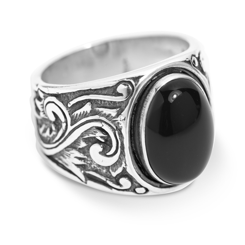Classics Sterling Silver Black Agate Gemstone Scroll Ring