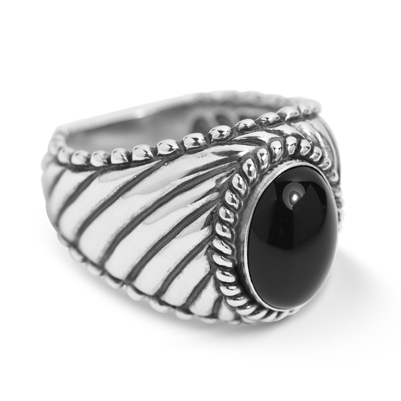 Classics Sterling Silver Black Agate Gemstone Rope Ring