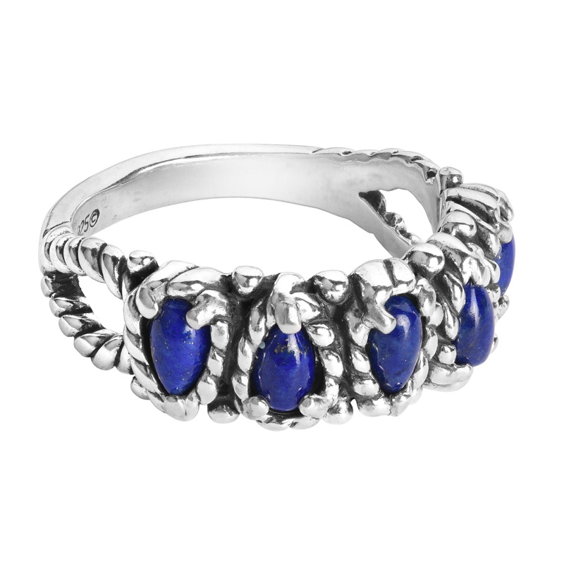 Sterling Silver Dark Blue Lapis Gemstone Rope Band 5-Stone Ring Size 5 to 11