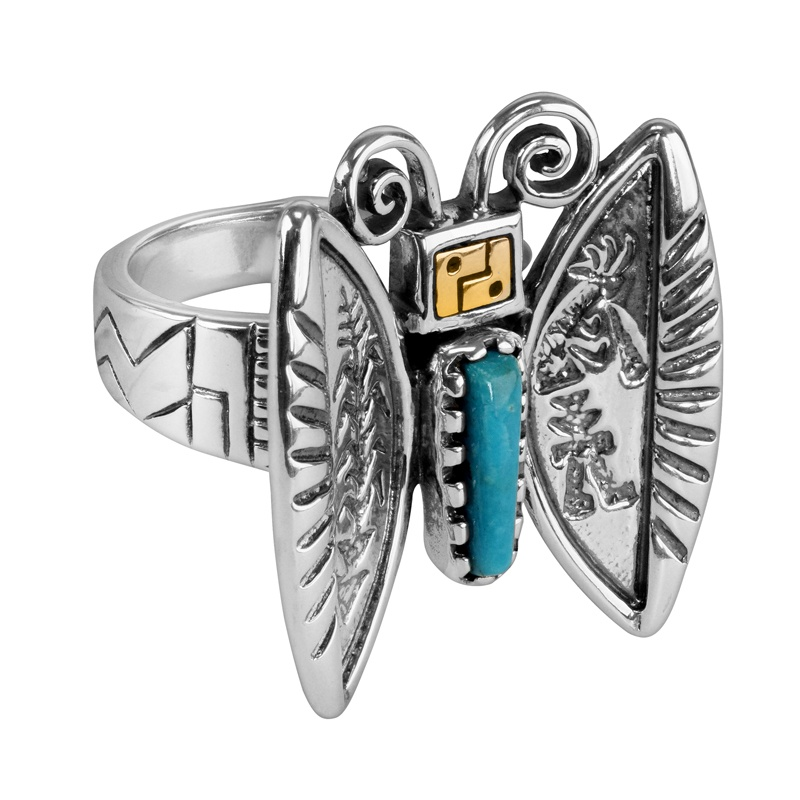 Sterling Silver and 14k Gold Roderick Tenorio Turquoise Gemstone Butterfly Ring Sizes 6 to 10