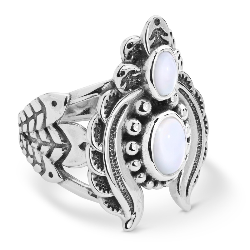 Sterling Silver White Mother of Pearl Gemstone Naja Ring Size 5 to 10