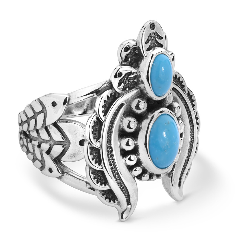 Sterling Silver Sleeping Beauty Turquoise Gemstone Naja Ring Size 5 to 10