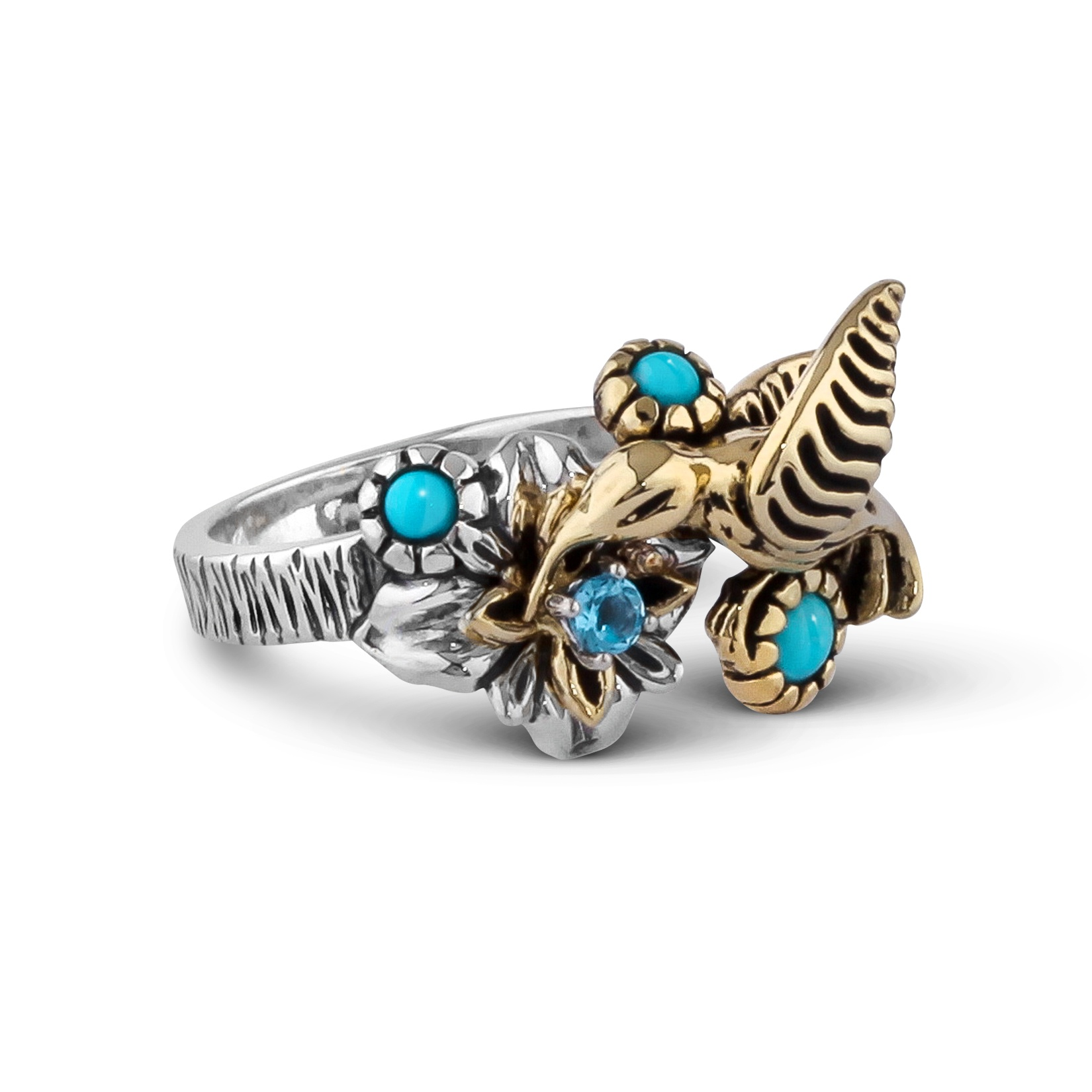 Sterling Silver Brass Blue Turquoise Blue Topaz Gemstone Fritz Casuse Design Hummingbird Ring Limited Sizes 5 and 9