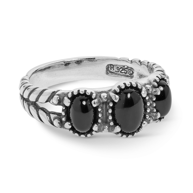Sterling Silver Black Agate Gemstone 3-Stone Ring Size 5 to 10