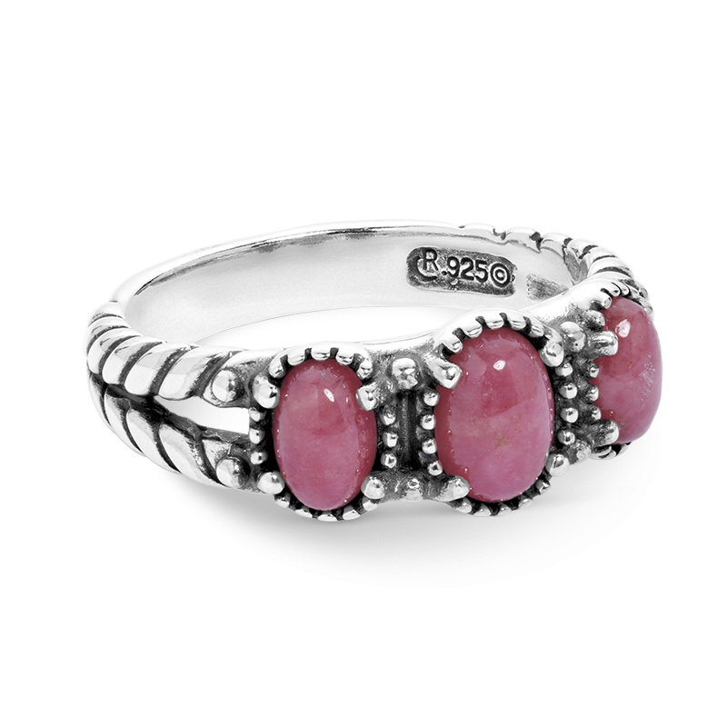 Sterling Silver Pink Rhodonite Gemstone 3-Stone Ring Size 5 to 10
