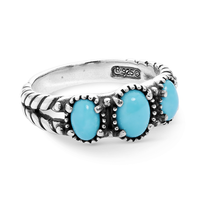 Sterling Silver Sleeping Beauty Turquoise Gemstone 3-Stone Ring Size 5 to 10