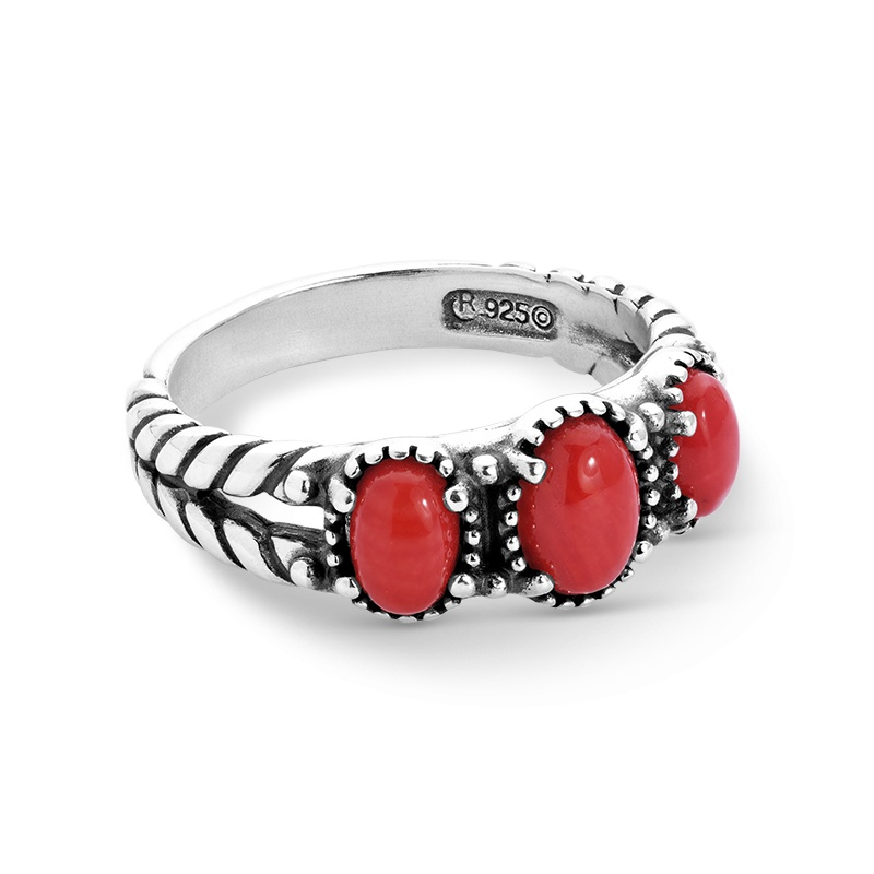 Sterling Silver Red Coral Gemstone 3-Stone Ring Size 5 to 10