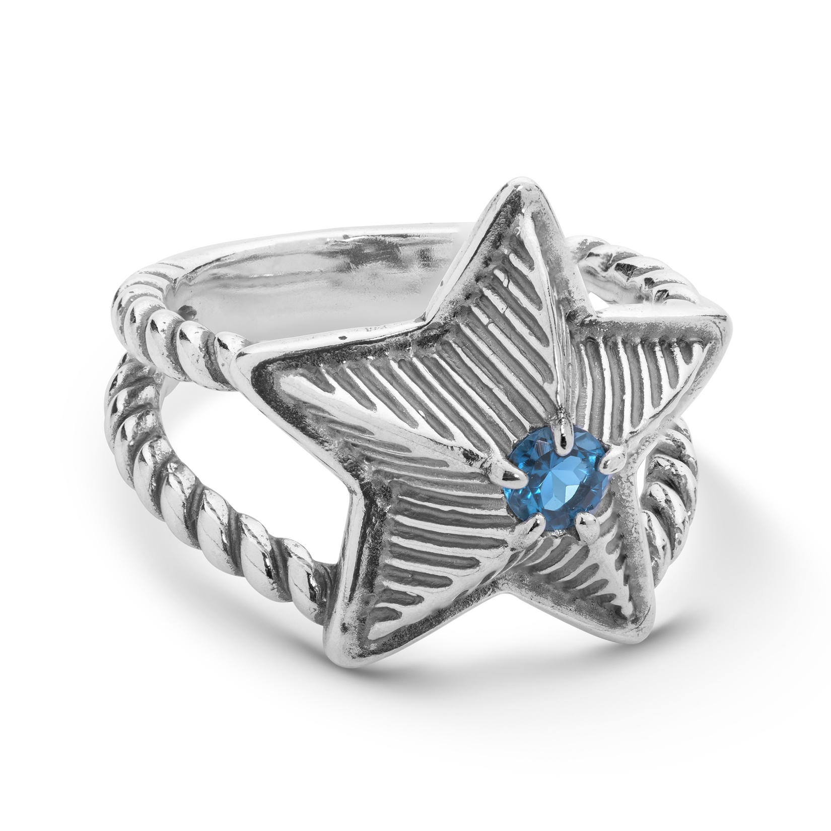 Sterling Silver London Blue Topaz Star Ring Size 5 to 10