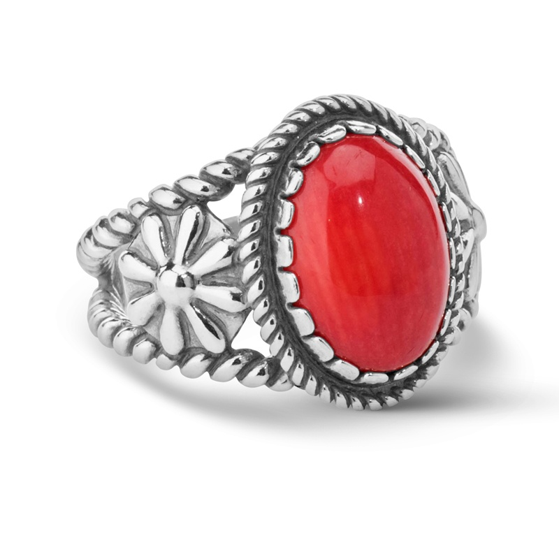 Sterling Silver Red Coral Rope Floral Ring