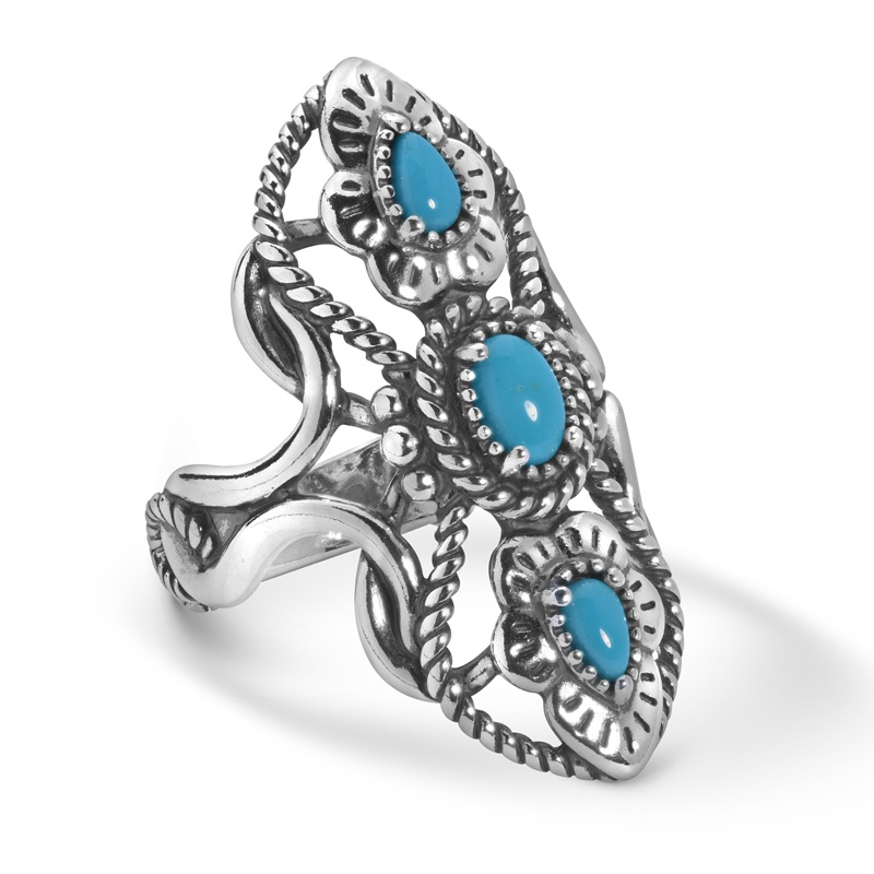 Sterling Silver Sleeping Beauty Turquoise Gemstone 3-Stone Elongated Ring Size 5 to 10