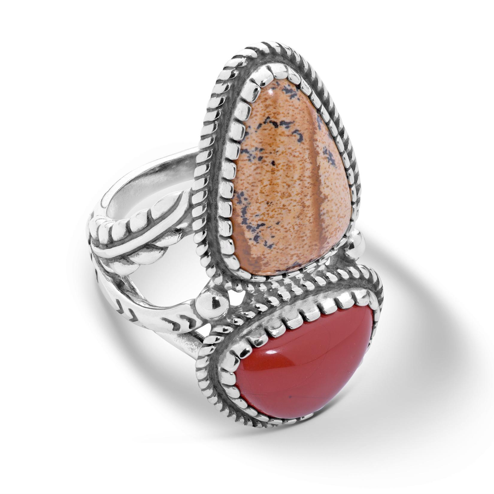 Sterling Silver, Picture Jasper, & Red Jasper Leaf Ring (Size: 9)