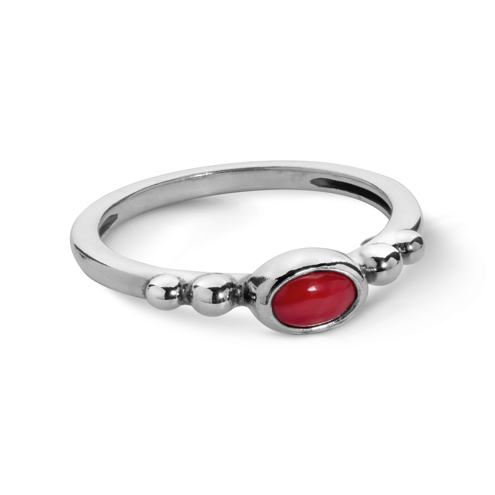 Sterling Silver and Red Coral Stack Ring