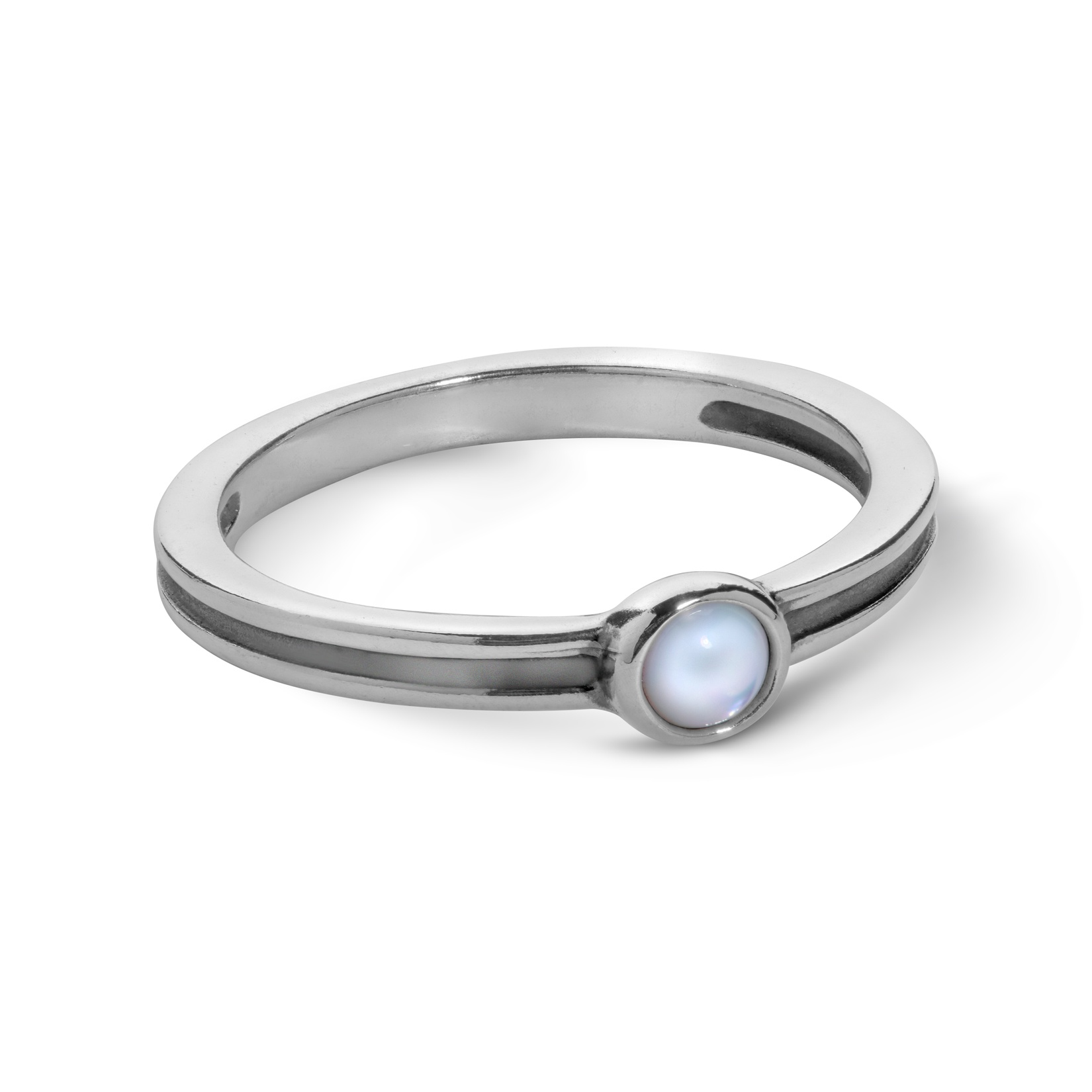 Sterling Silver White Mother of Pearl Gemstone Stackable Ring Size 5 to 10