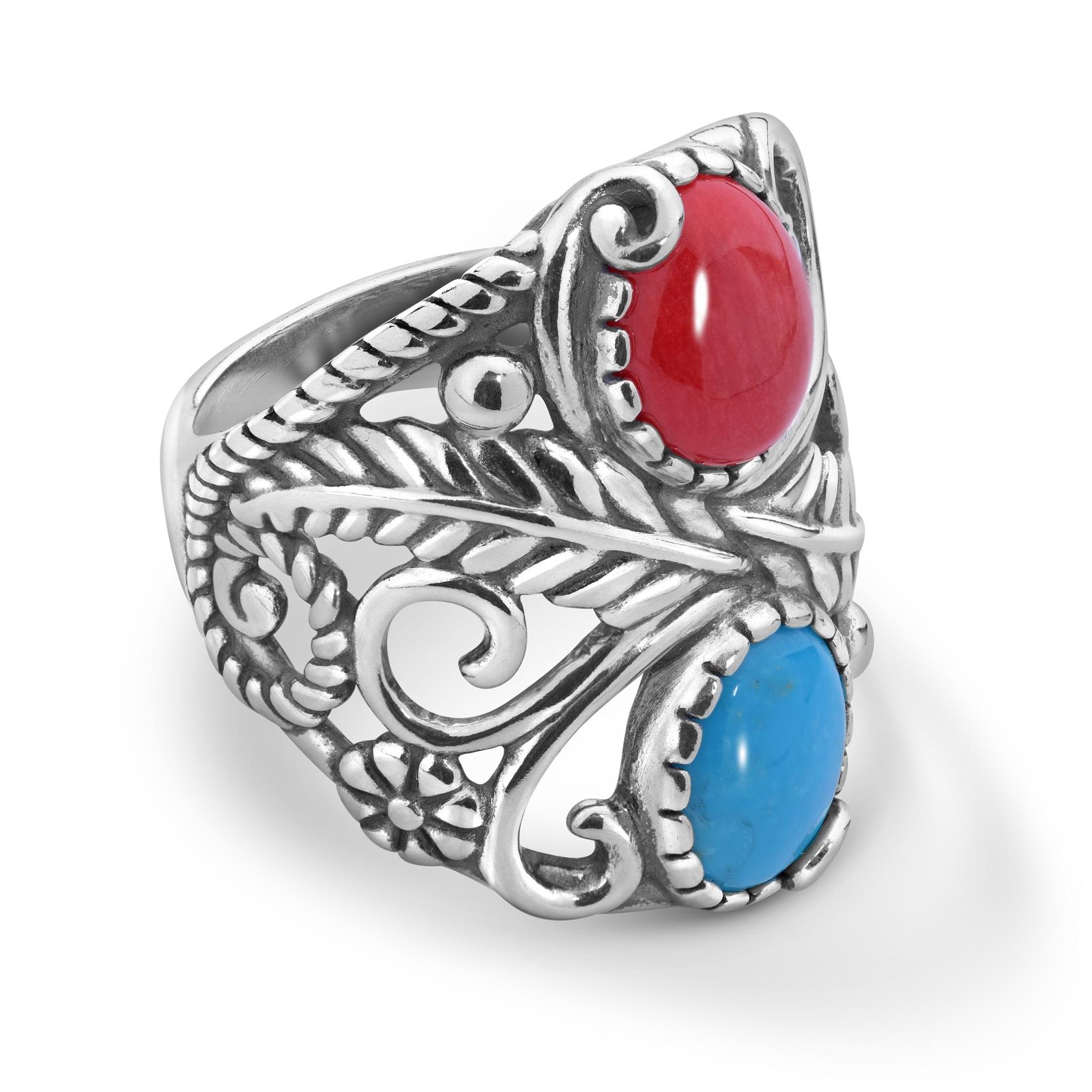 Sterling Silver Multi Gemstone Leaf Vine Ring
