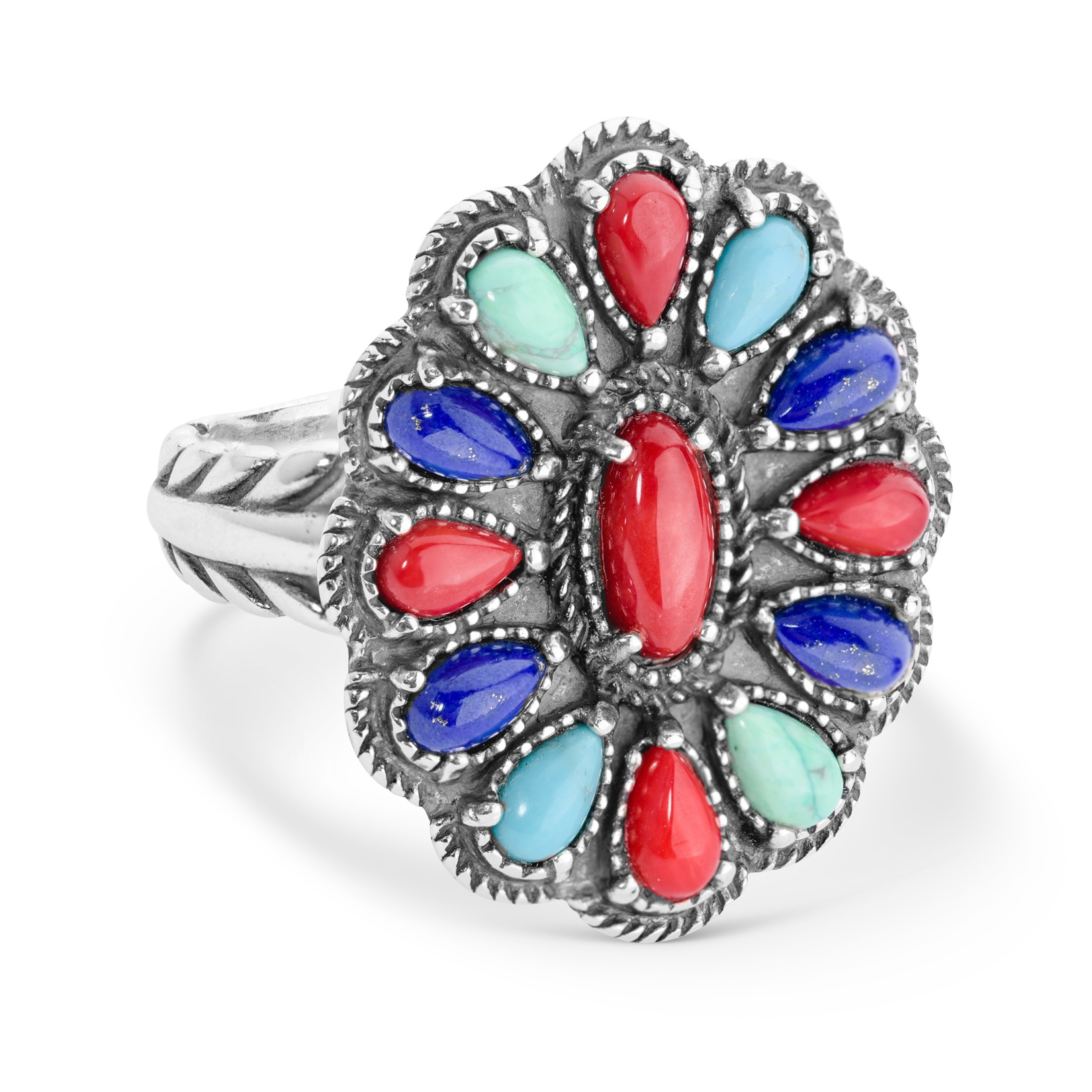 Classics Sterling Silver Bright Blue Lapis, Red Coral and Blue Turquoise Gem..