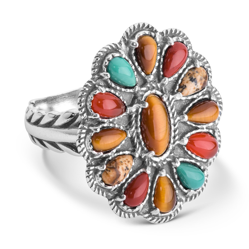 Sterling Silver Multi Gemstone Cluster Ring Size 5 to 10