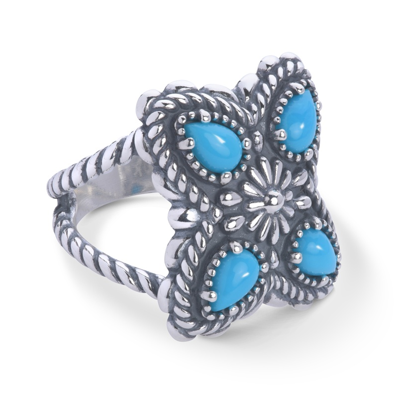 Sterling Silver Sleeping Beauty Turquoise Gemstone Butterfly Concha 4-Stone Ring Size 5 to 10