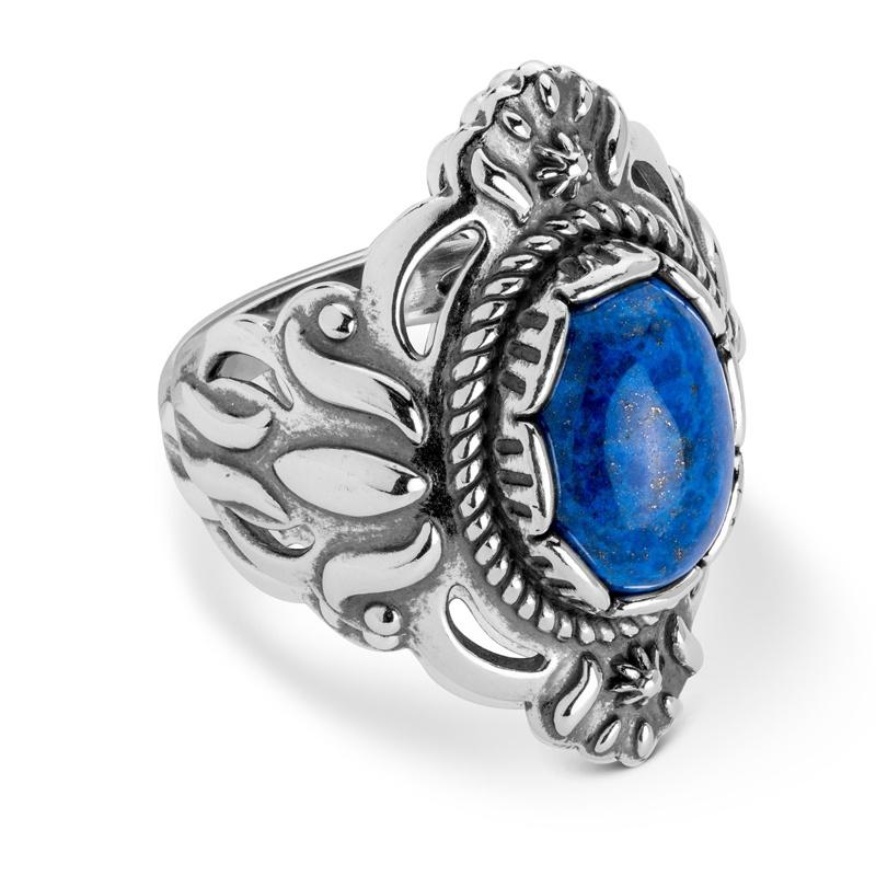 Sterling Silver Denim Lapis Gemstone Ring Size 5 to 10