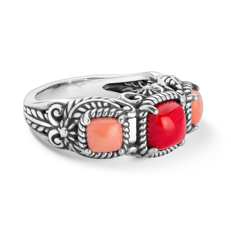Classics Sterling Shades of Coral Leaf Ring