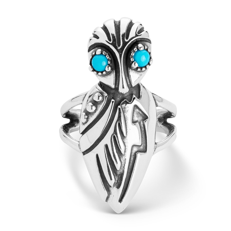 Sterling Silver Sleeping Beauty Turquoise Gemstone Owl Ring Size 5 to 10