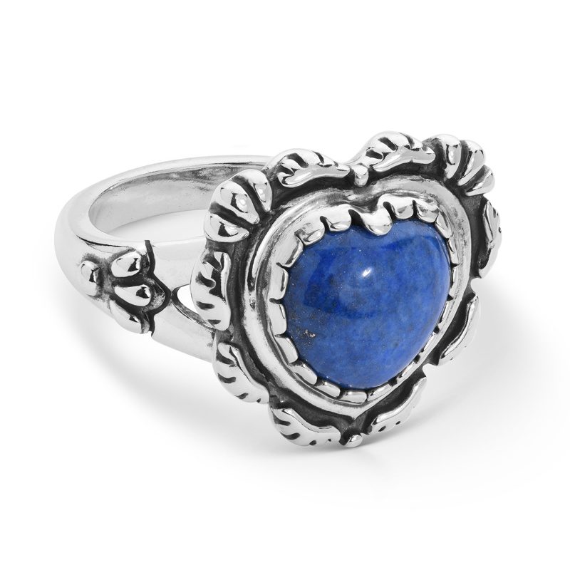 Sterling Silver Denim Lapis Concha Heart Ring Size 5 to 10