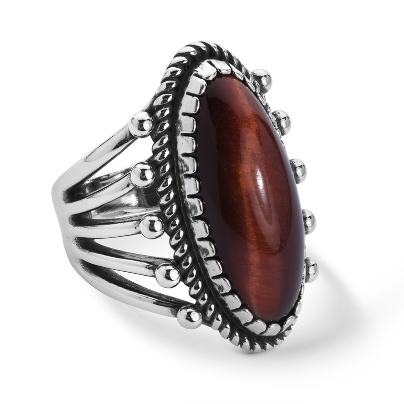 Sterling Silver Red Tiger's Eye Gemstone Oval Ring Size 5 to 10